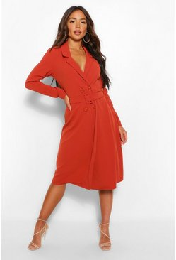 Rust orange Belted Wrap Midi Blazer Dress
