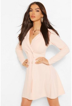 Blush pink Button Detail Full Skirt Blazer Dress