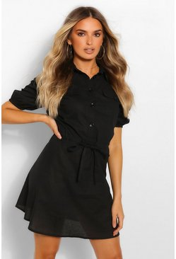 Black Utility Pocket Shirt Dress