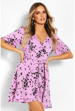 Purple Smudge Print Wrap Tea Dress