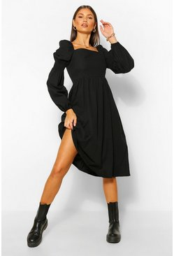 Black Square Neck Shirred Sleeve Midi Skater Dress