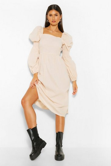 Stone beige Square Neck Shirred Sleeve Midi Skater Dress