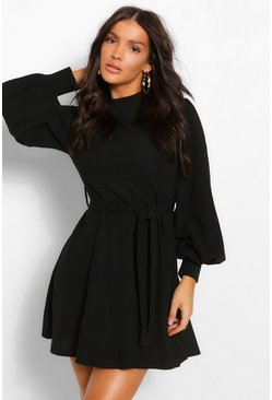 Black High Neck Balloon Sleeve Belted Skater Dress