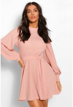 Rose pink High Neck Balloon Sleeve Belted Skater Dress
