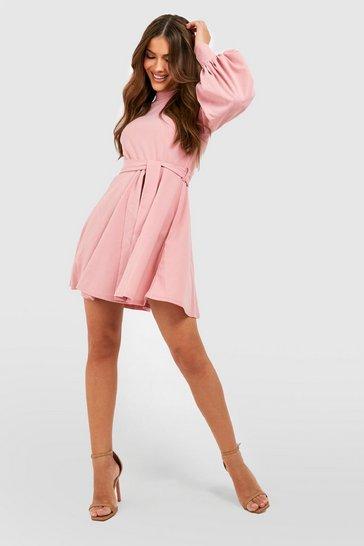 Rose pink High Neck Balloon Sleeve Belted Skater Dress