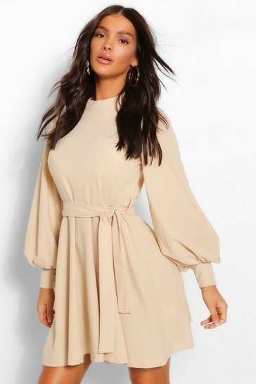 Stone beige High Neck Balloon Sleeve Belted Skater Dress