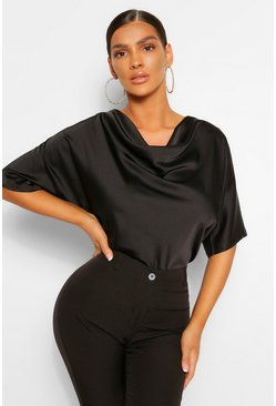 Black Satin Cowl Neck Short Sleeve Blouse