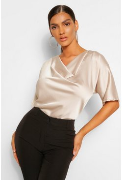 Champagne beige Satin Cowl Neck Short Sleeve Blouse