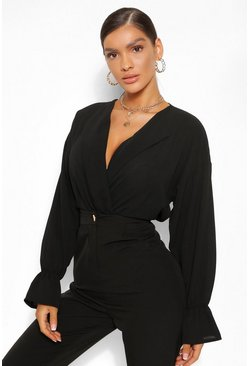 Black Woven Elasticated Crop Collared Blouse
