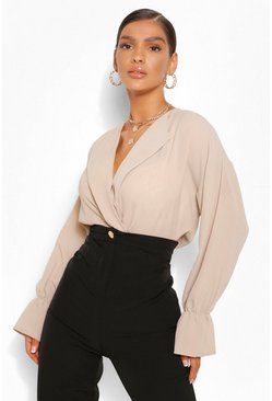 Stone beige Woven Elasticated Crop Collared Blouse
