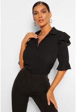 Black Ruffle 3/4 Sleeve Shirt