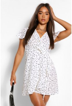 White Polka Dot Woven Belted Tea Dress