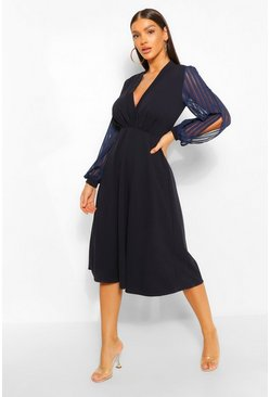 Navy Wrap Stripe Chiffon Bodycon Midi Dress