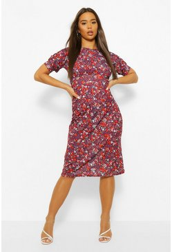 Berry Floral Puff Sleeve Midi Dress