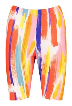 Orange Stripe Tie Dye Cycle Short