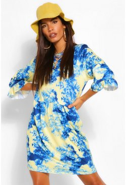 Blue Tie Dye 3/4 Sleeve T Shirt Smock Dress
