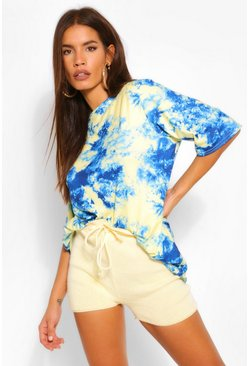 Blue Tie Dye Oversized T Shirt
