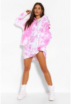 Lilac purple Tie Dye Drop Shoulder Oversized T Shirt Dress
