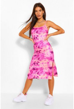 Pink Tie Dye Strappy Midi Slip Dress