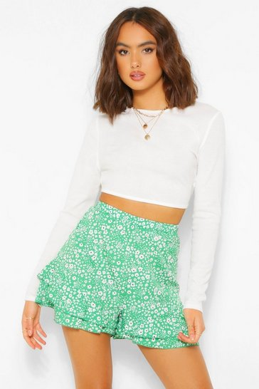 Emerald green Floral Hem Ruffle Shorts