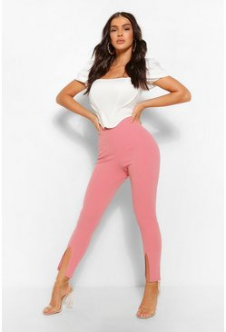 Dusky pink pink Stretch Crepe Split Hem Seamed Pants