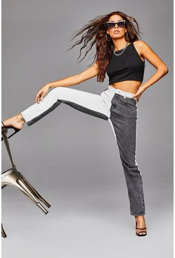 Black Colour Block High Raise Straight Leg Jeans