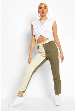 Khaki Colour Block High Rise Mom Jeans