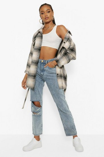 Mid blue blue Acid Wash Distressed Boyfriend Jeans