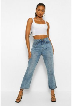 Mid blue blue Acid Wash Split Hem Ankle Mom Jeans