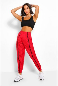 Red Piped Slim Fit Zip Hem Shell Jogger
