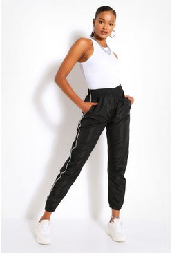 Black Piped Boyfriend Shell Jogger