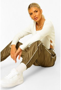 Khaki Piped Boyfriend Shell Jogger