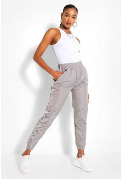Light grey grey Piped Boyfriend Shell Jogger