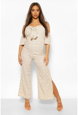 White Ditsy Floral Off The Shoulder Wide Leg Jumpsuit