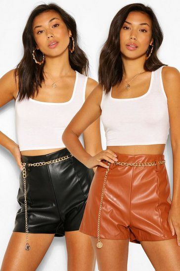 Multi 2 Pack PU Faux Leather High Waist Shorts