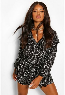 Black Woven Polka Dot Ruffle Layered Hem Playsuit