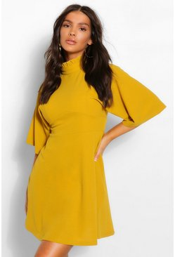 Mustard yellow High Neck Panelled Skater Dress