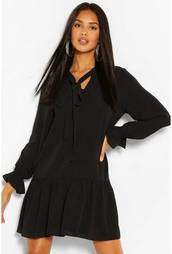 Black Tie Neck Drop Hem Shift Dress