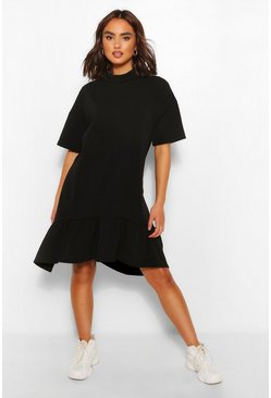Black Crew Neck Drop Hem Midi T-Shirt Dress