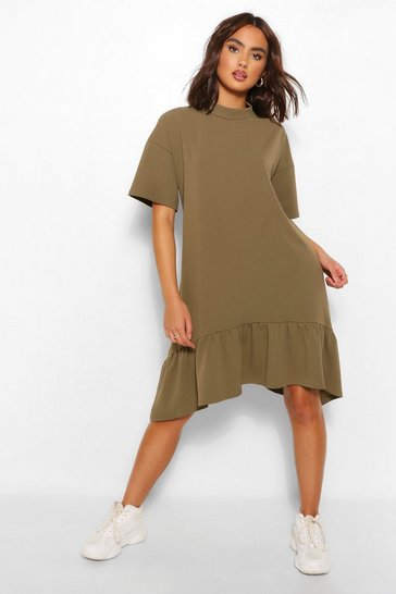 Khaki Crew Neck Drop Hem Midi T-Shirt Dress