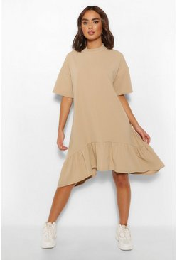 Stone beige Crew Neck Drop Hem Midi T-Shirt Dress