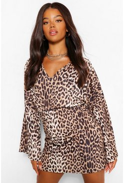 Brown Leopard Print V Neck Mini Dress