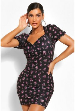 Black Floral Tie Neck Cut Out Bodycon Mini Dress