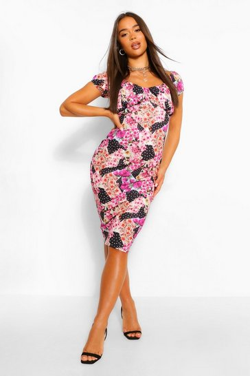 Pink Mixed Print Rouched Bust Midi Dress