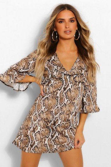 Brown Snake Print Ruffle Detail Smock Dress