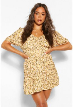 Mustard yellow Tie Detail Ruffle Tiered Smock Dress