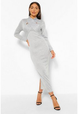 Grey marl grey Wrap Detail Cut Out Bodycon Midaxi Dress