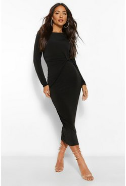 Black Twist Detail Bodycon Midaxi Dress