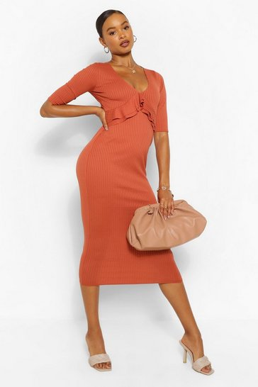 Rust orange Frill Detail Rib Midaxi Dress