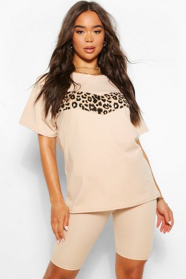 Stone beige Leopard Trim Top and Cycling Short Set